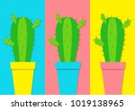 cactus icon in flower pot icon... | Shutterstock .eps vector #1019138965