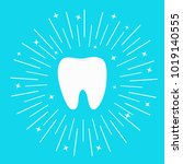 healthy white tooth icon. round ... | Shutterstock .eps vector #1019140555