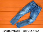 blue mens jeans denim pants on... | Shutterstock . vector #1019154265