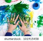 woman hands in color paints | Shutterstock . vector #101915458