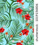 vector tropical seamless... | Shutterstock .eps vector #1019156806
