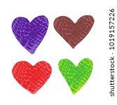 grunge valentines hearts set... | Shutterstock .eps vector #1019157226