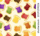 bread slice toast with jam  ...   Shutterstock .eps vector #1019159026