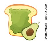 avocado toast. fresh toasted... | Shutterstock .eps vector #1019159035