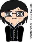 boy's japanese student glasses... | Shutterstock .eps vector #1019163886