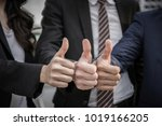 business teamwork thumbs up... | Shutterstock . vector #1019166205