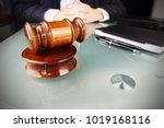 Small photo of Arbitration concept with arbitrator or judge holding gavel