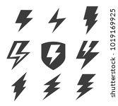 set of thunder logo  | Shutterstock .eps vector #1019169925