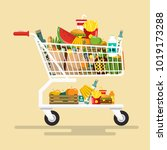 shopping cart with foodstuff.... | Shutterstock .eps vector #1019173288