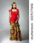 black female showing african... | Shutterstock . vector #1019177656