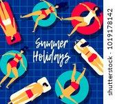 summer vector poster. people on ... | Shutterstock .eps vector #1019178142