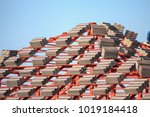 roof house construction with... | Shutterstock . vector #1019184418