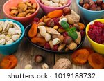assortment of dry fruits and... | Shutterstock . vector #1019188732