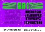 psychedelic alphabet font. 60's ... | Shutterstock .eps vector #1019193172