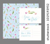 save the date card set with... | Shutterstock .eps vector #1019193952