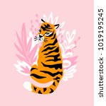 vector card with cute tiger on... | Shutterstock .eps vector #1019195245
