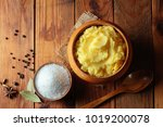 mashed potatoes in wooden bowl... | Shutterstock . vector #1019200078