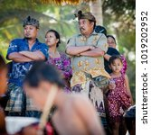 Small photo of Bali, August 30, 2013: Sea funeral ceremony at Bias Tugel Beach in Bali