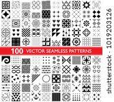 100 vector seamless pattern... | Shutterstock .eps vector #1019203126