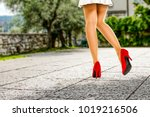 spring time and slim woman legs ... | Shutterstock . vector #1019216506