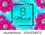 bright pink origami spring...   Shutterstock .eps vector #1019218072