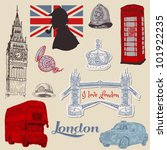 set of london doodles   for... | Shutterstock .eps vector #101922235