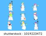 classic snowmen made of three... | Shutterstock .eps vector #1019223472