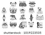 vector set with hand drawn... | Shutterstock .eps vector #1019223535