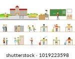 school building exterior and...   Shutterstock .eps vector #1019223598