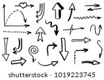 doodle hand drawn vector arrows | Shutterstock .eps vector #1019223745