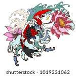 hand drawn koi fish tattoo... | Shutterstock .eps vector #1019231062