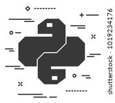 flat linear python code icon.... | Shutterstock .eps vector #1019234176