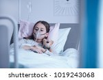 sick child with oxygen mask... | Shutterstock . vector #1019243068