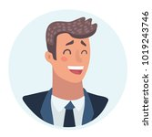 young man face  laughing facial ... | Shutterstock .eps vector #1019243746