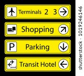 set of airport signs with icons ... | Shutterstock .eps vector #1019246146