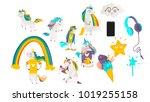 vector cartoon unicorns  magic... | Shutterstock .eps vector #1019255158