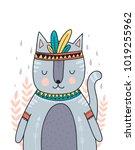 wild animal  boho illustration. ... | Shutterstock .eps vector #1019255962