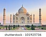 taj mahal with lady diana bench ... | Shutterstock . vector #101925736