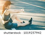 young women stops resting after ...   Shutterstock . vector #1019257942