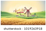 rural summer landscape with... | Shutterstock .eps vector #1019263918