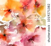 floral background. watercolor... | Shutterstock . vector #1019271382
