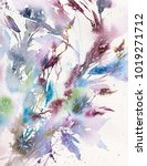 floral background. watercolor... | Shutterstock . vector #1019271712