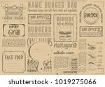 fast food    burgers    drawn... | Shutterstock .eps vector #1019275066