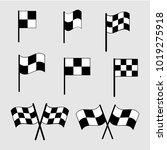 checkered flag icons. finish... | Shutterstock .eps vector #1019275918