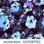 seamless anemone flowers... | Shutterstock .eps vector #1019287552