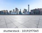 empty floor with panoramic... | Shutterstock . vector #1019297065