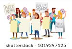 demonstrate protest people... | Shutterstock .eps vector #1019297125