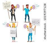 people shouting through loud... | Shutterstock .eps vector #1019297128