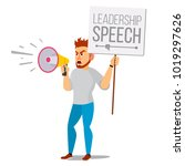 man shouting through megaphone... | Shutterstock .eps vector #1019297626