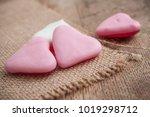 closeup of shaped heart candies ... | Shutterstock . vector #1019298712